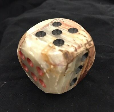 """Hand Carved Beautiful Marble 1.5"""" Large Dice, 1 Piece"""