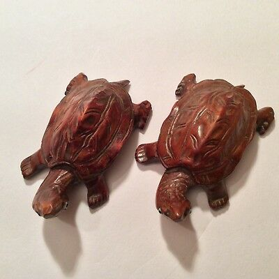 Lot Of 2 X Netsuke Style Carved Wood Tortoise Figurines, With Bead/glass Eyes