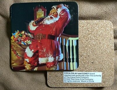 Set of 8 COCA-COLA SANTA BEVERAGE COASTERS~vtg Christmas Coke Claus Drink Ad Lot