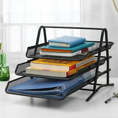 3 Tier Letter Tray Mesh Desk Organizer Office File Doent Sorter Paper Holder
