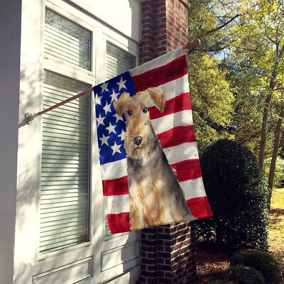 Patriotic USA Welsh Terrier Flag Canvas House Size