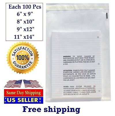 Poly & Plastic Packaging Bags 400 Clear Combo With Suffocation Warning 6x9, Seal