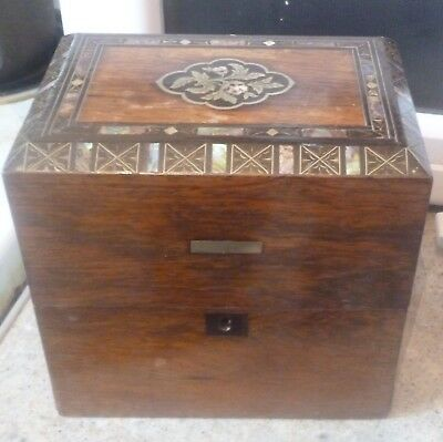 Antique Mahogany 2 Division Decanter Box Inlaid With Mother Of Pearl No Reserve