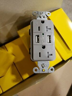 Hubbell USB Charger Receptacle Duplex 20A 125V Part #USB20X2GY