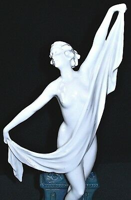 Antique German DRESDEN MULLER ART DECO NUDE LADY NYMPH DANCER Porcelain Figurine