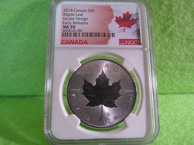 2018 Canadian Maple Leaf ( Incuse Design )  Early Release Ngc Graded Ms 70