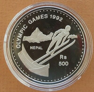 Nepal 1992 # 500 Rs-Olympic Ski Jump Large Silver Coin Proof
