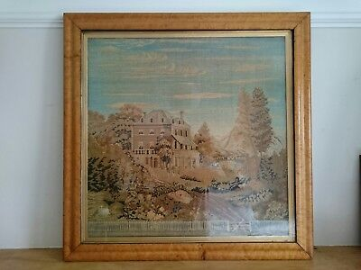 Huge Victorian embroidery tapestry of house in glazed maple frame c1850