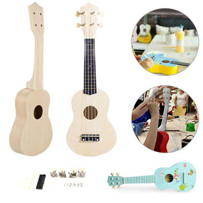 "21"" Ukulele Soprano Wooden Musical Hawaiian Guitar Uke Kit DIY + Painting kit de"