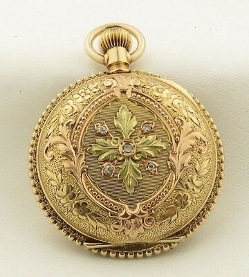 Antique 14 kt Green,Rose & Yellow Gold Hand Engraved Ornate Waltham Pocket Watch