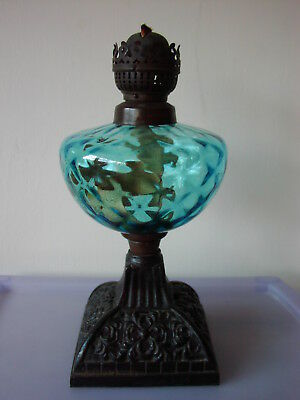 Vintage Blue Optic Glass Reservoir Oil Lamp With Cast Iron Base