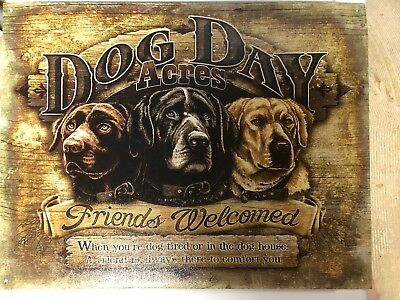 Dog Sign Welcome Friends Day Acres Pets Metal Vintage Advertising Tin USA New