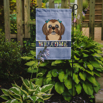 Carolines Treasures  BB1435GF Chocolate Brown Shih Tzu Welcome Flag Garden Size