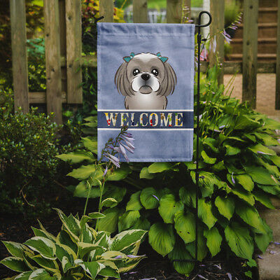 Carolines Treasures  BB1436GF Gray Silver Shih Tzu Welcome Flag Garden Size