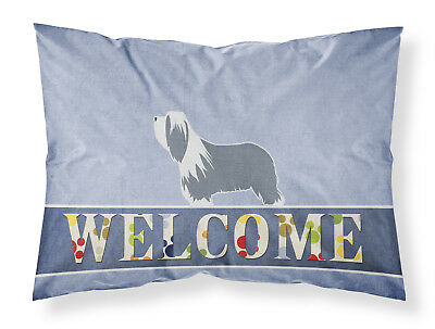 Bearded Collie Welcome Fabric Standard Pillowcase
