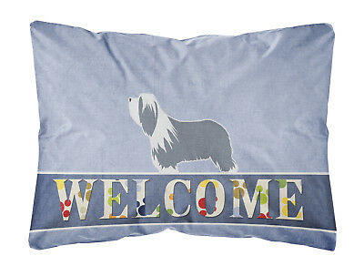 Bearded Collie Welcome Canvas Fabric Decorative Pillow