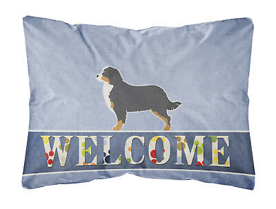 Bernese Mountain Dog Welcome Canvas Fabric Decorative Pillow