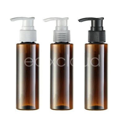 3Pcs 100ml Amber Empty Plastic Lotion Lock Pump Bottles Gel Cosmetic Container