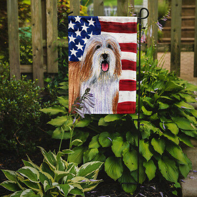Carolines Treasures  SS4245GF USA American Flag with Bearded Collie Flag Garden