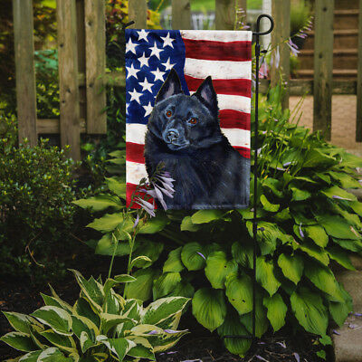Carolines Treasures  LH9009GF USA American Flag with Schipperke Flag Garden Size