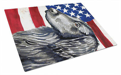 USA American Flag with Flat Coated Retriever Glass Cutting Board Large