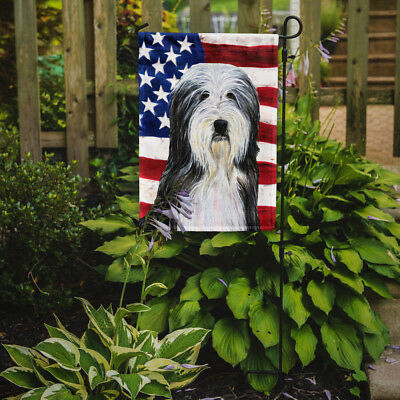 Carolines Treasures  SS4024GF USA American Flag with Bearded Collie Flag Garden
