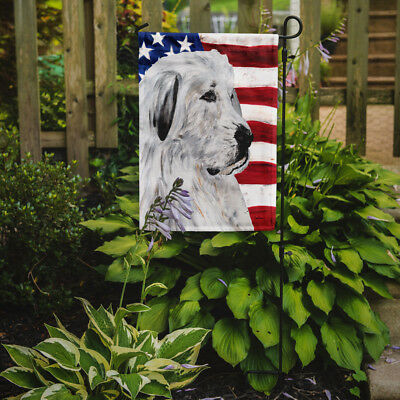 Great Pyrenees with American Flag USA Flag Garden Size