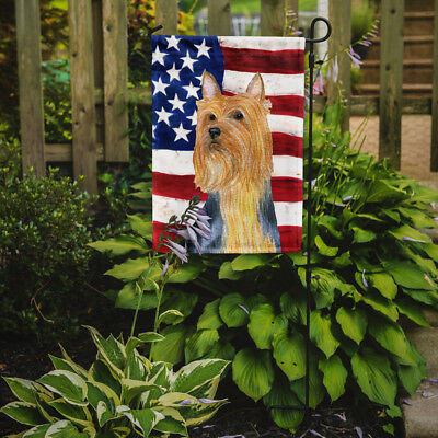 Carolines Treasures  SS4250GF USA American Flag with Silky Terrier Flag Garden S