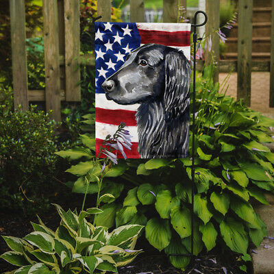 USA American Flag with Flat Coated Retriever Flag Garden Size