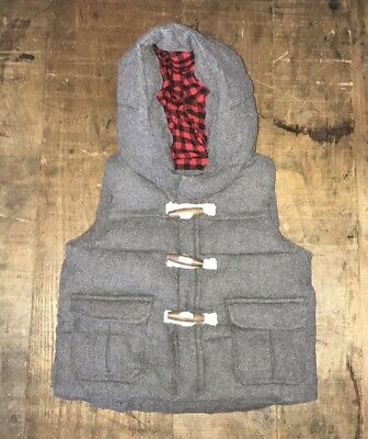 BABY GAP Boys Gray Toggle Button Puffer Vest