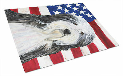 USA American Flag with Bearded Collie Glass Cutting Board Large