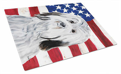 Havanese with American Flag USA Glass Cutting Board Large Size
