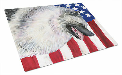 Carolines Treasures  SS4051LCB USA American Flag with Keeshond Glass Cutting Boa