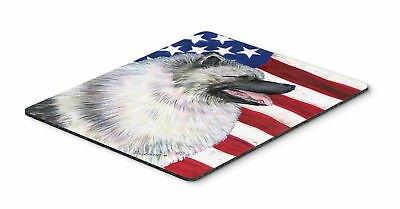 USA American Flag with Keeshond Mouse Pad, Hot Pad or Trivet