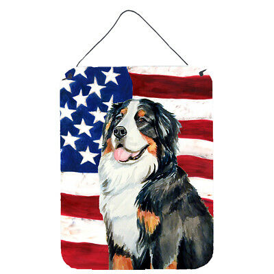 USA American Flag with Bernese Mountain Dog Wall or Door Hanging Prints
