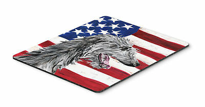 Scottish Deerhound with American Flag USA Mouse Pad, Hot Pad or Trivet