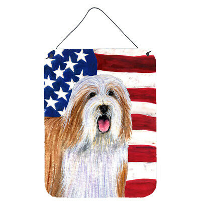 USA American Flag with Bearded Collie Wall or Door Hanging Prints