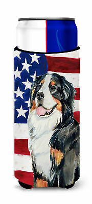 USA American Flag with Bernese Mountain Dog Ultra Beverage Insulators for slim c