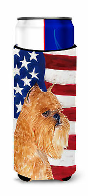 USA American Flag with Brussels Griffon Ultra Beverage Insulators for slim cans