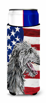 Scottish Deerhound with American Flag USA Ultra Beverage Insulators for slim can
