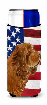 USA American Flag with Sussex Spaniel Ultra Beverage Insulators for slim cans