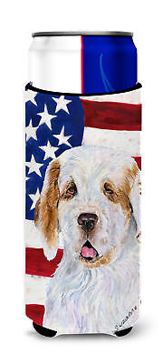 USA American Flag with Clumber Spaniel Ultra Beverage Insulators for slim cans