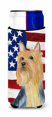 USA American Flag with Silky Terrier Ultra Beverage Insulators for slim cans