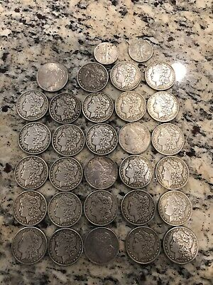 Lot Of 28 Morgan Silver Dollars 1 Peace Dollar And Two Liberty Halfs