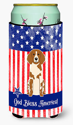 Patriotic USA Brittany Spaniel Tall Boy Beverage Insulator Hugger