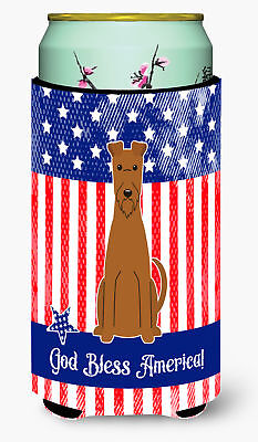 Patriotic USA Irish Terrier Tall Boy Beverage Insulator Hugger