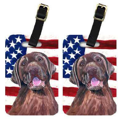 Pair of USA American Flag with Labrador Luggage Tags
