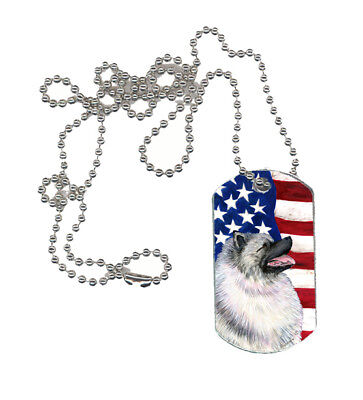 Carolines Treasures  SS4051DT USA American Flag with Keeshond  Dog Tag