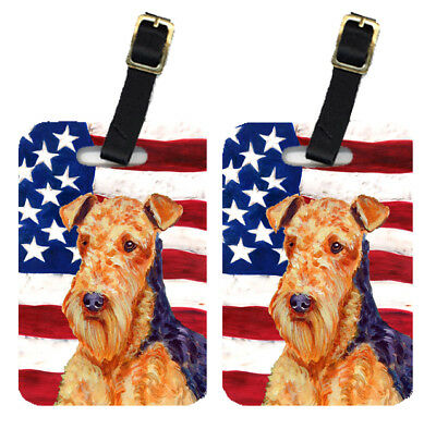 Pair of USA American Flag with Airedale Luggage Tags