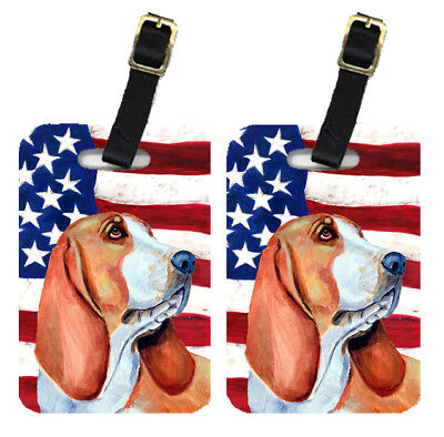 Pair of USA American Flag with Basset Hound Luggage Tags
